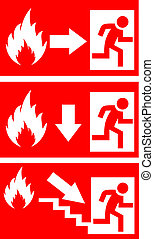 Fire danger vector signs - Fire danger signs set, vector...