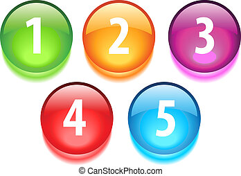 Numbers vector buttons isolated on white