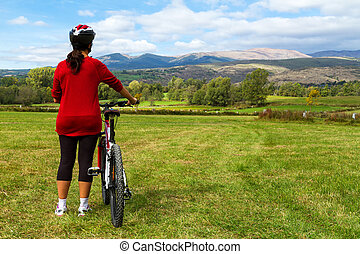 Landscape - Cyclist looking for the spanish landscape