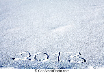 2013 on snow - Message handwritten on the snow for 2013 year