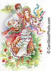 Folk dance. Girl and boy in traditi - beautiful young girl...