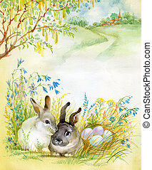 Watercolor Fauna Collection: Rabbit - two beautiful rabbit...