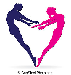 Man and woman body silhouette in heart. Love valentine...