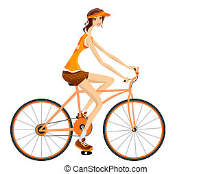 Cycling - Woman Cycling with Clipping Path