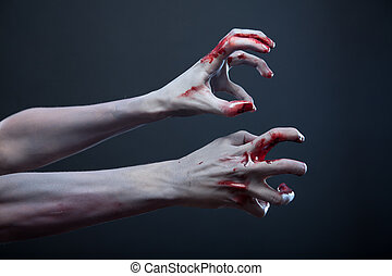 Zombie stretching bloody hands - Zombie stretching bloody...