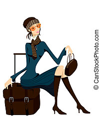 Waiting - Woman with Luggage waiting with Clipping Path