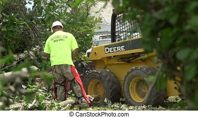 tornado cleanup - Workers cutting up downed trees after a...