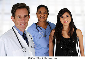 Doctor with Nurse and Patient - Doctor and nurse with a...
