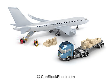 Airport : forklift is loading the airplane
