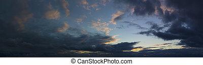panoramic sunset stormy sky