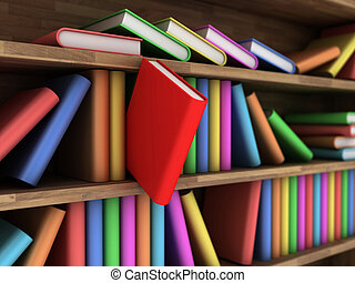 Bookcase - Illustration of a bookcase with a books different...