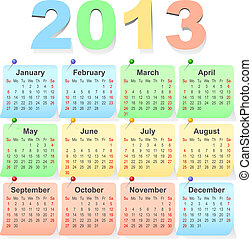 vector 2013 calendar design - week starts with sunday