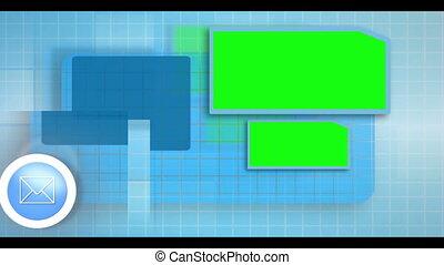Electronic communication montage animation on blue...