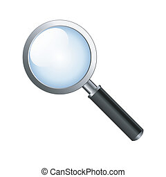 Realistic vector magnifying glass isolated on white...