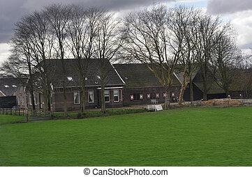 Dutch farmhouse - Old Dutch farmhouse in early spring season...
