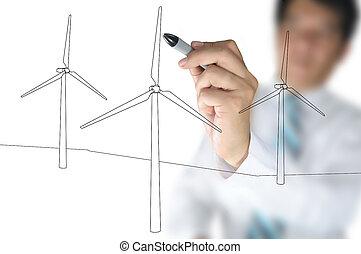 Hand draw Turbine Power generator - Hand of Business Man...
