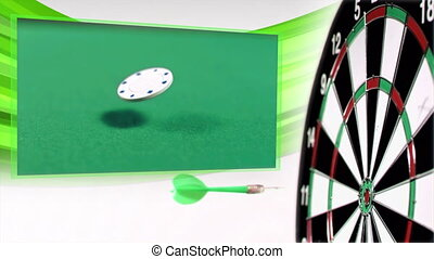 Slow motion darts animation with poker and gambling clips on...