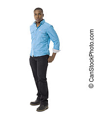 black young guy - Full length portrait of black young guy...