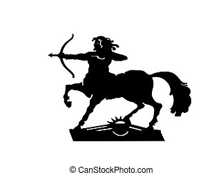 Silhouette centaur with a bow on a white background -...