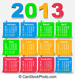 vector 2013 calendar design - week starts with monday -...