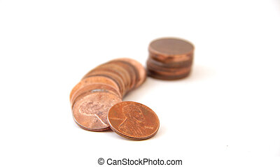 Stack of Pennies with Trail - Stack of old pennies isolated...