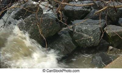 waves over rocks slow motion - Slow motion shot of river...