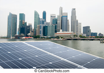 Solar panel and modern city - Solar panel with modern city...