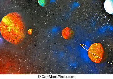 outer space - Planets with constellations in outer space.