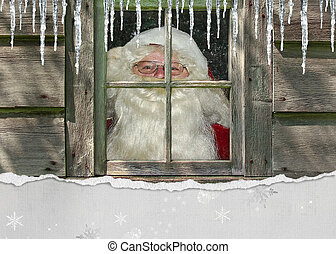 Santa Claus in window - Santa in workshop window.