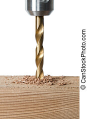 drilling hole on a wood - Close-up image of a drilling hole...