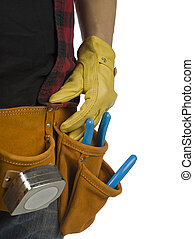 man with toolbelt - Cropped image of a man with toolbelt...