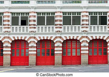 fogo, portões, estação, antigas, vermelho