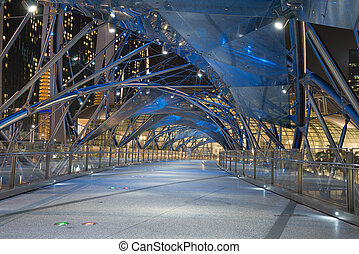 Modern empty futuristic bridge at night - Modern empty...