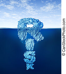 Hidden Risk - Risk iceberg concept as hidden dangers with a...