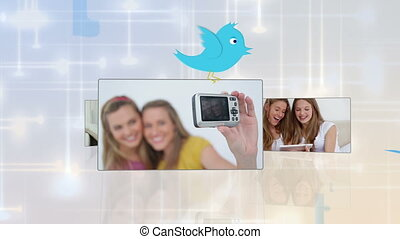Montage of young people using vario - Montage of young...