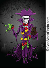 Halloween Ghost - illustration of Halloween ghost with skull...