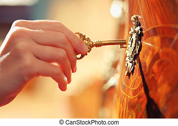 Hand with key - Hand inserting golden key in keyhole to open...
