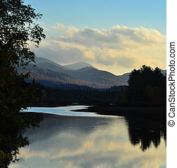Peace on lake placid - peaceful scene at dusk