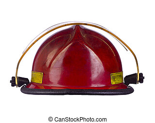 red fireman helmet - Close up image of red fireman helmet...