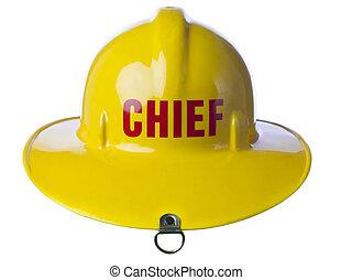 yellow fire helmet - Facade shot of a yellow fire helmet...