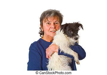 Female senior with puppy
