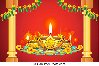 Diwali Diya - illustration of decorated golden diya for...
