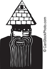 Man with Pyramid Hat - Crazy looking man with a pyramid hat...
