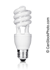 Energy saving fluorescent light bulb isolated on white...