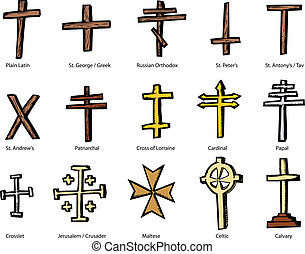 Various Christian Crucifix Designs - Set of historically...