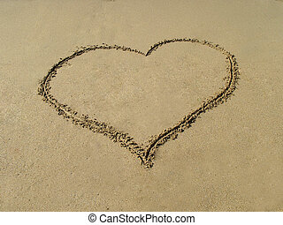 Heart painted in the sand