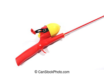 Fishing Pole - Isolated red and yellow kids closed face...