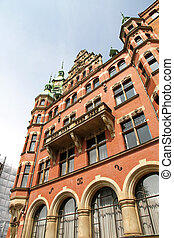 Historic building in the Speicherstadt in Hamburg, Germany,...