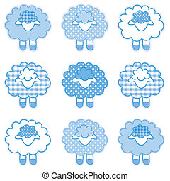 Baby Lambs, Patchwork, Pastel Blue - Patchwork baby lambs in...