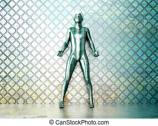 Chameleon Man - A chameleon man in a metal room. 3D rendered...
